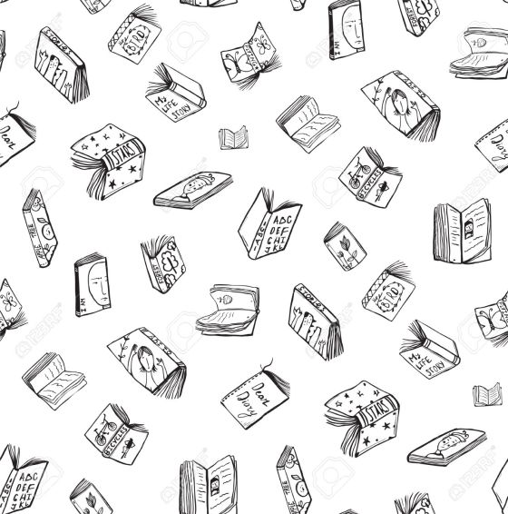 Open Books Drawing Seamless Pattern Background