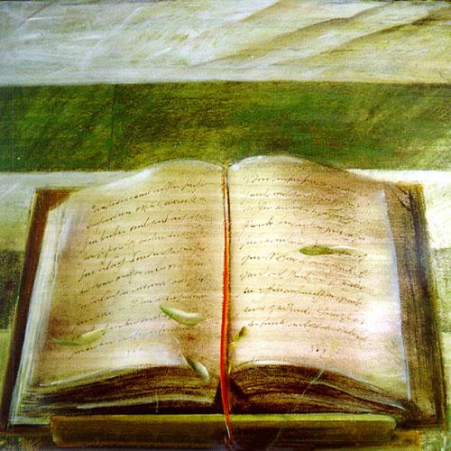 Libro aperto su FirenzeTempera grassa, tela trattata con carta di riso60x60